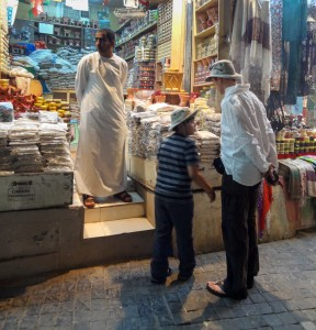 Checking out incense in the souk with Dad