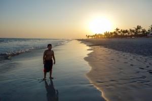 Sunset swim in the surf
