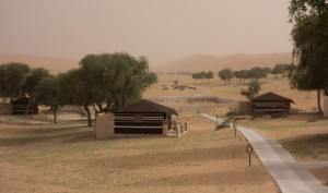 The 1000 Nights Camp, seen through a late afternoon sandstorm