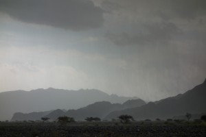 Rain lashing the Omani countryside