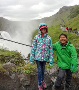 Fay and Ryo at the falls in Gullfoss