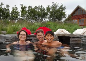 Hitting the hot tub at our cottage