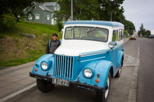 Old car in the old town of Akureyri