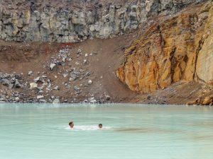Enjoying the geothermal waters