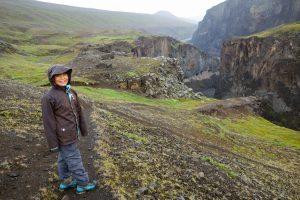 Walking along the Hafrahvammagljufur gorge