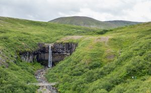 The Svartifoss waterfall with its basalt cliffs