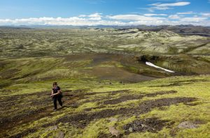 Hiking up Mount Laki
