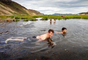 Swimming in the warm river at Landmannalaugar