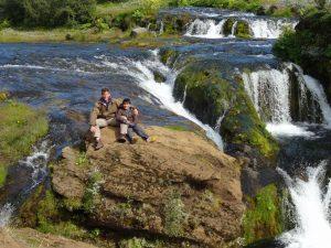 The boys sunning on the rocks of Gjain