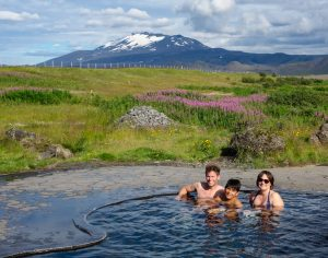 Relaxing in the Viking hot pot at the foot of the Hekla volcano